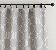 Moroccan Inspired Curtains Linen And Cotton Grey Print Drape