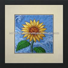 36102 sunflower sketch on blue susho king silk art 100 handmade