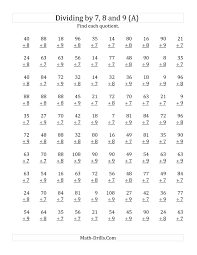 dividing by 7 8 and 9 quotients 1 to 12 a