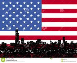 Chicaho Flag Grunge Chicago Skyline Mit Amerikanischer Flagge Vektor Abbildung