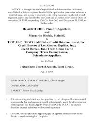 trw credit bureau david ritchie and margarita ritchie v trw inc trw credit data