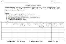interpreting food labels chart teaching biology and science blog