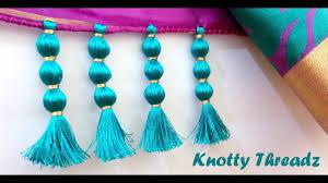 how to make saree kuchu design using silk thread beaded design