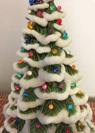 ceramic light up christmas tree 1970s vintage ceramic snow flocked light up christmas tree l
