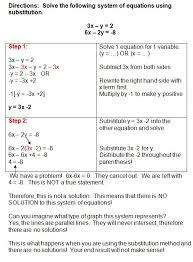 this is what happens when you use the substitution method and have no solution or parallel systems of equationshigh