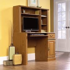 Small Wood Computer Desk Small Wood Computer Desk With Hutch In Carolina Oak 401353