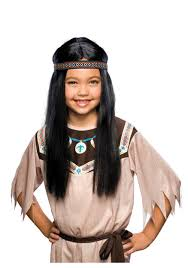 childs pocahontas wig kids native american indian costume wigs