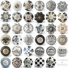 black white grey vintage ceramic knobs drawer pull cupboard door