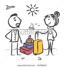 cartoon sketch young couple on vacation stock vector 287986049