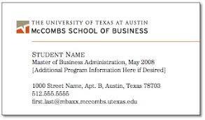 student business card brand standards mccombs business school