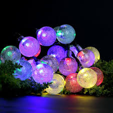 Solar String Outdoor Lights by 20ft 30 Led Waterproof White Crystal Ball Solar String Lights