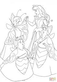 the good fairies are dressed as butterflies coloring page free