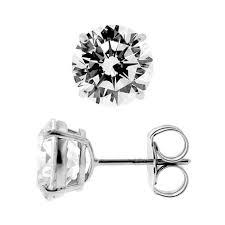 push back earrings 14k white gold 10 mm cz push back mens stud earrings
