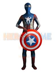 Morph Halloween Costumes America Spider Man Hybrid Superhero Costume Morph Fullbody Suit