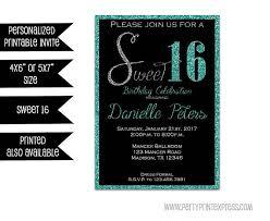 sweet 16 invitations printable turquoise sweet 16 invitations turquoise glitter sweet