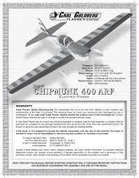 great planes goldberg super chipmunk ep arf gpma1928 user manual