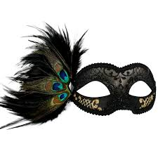 masquerade masks with feathers black gold peacock feather creative costumes
