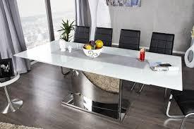 design glastisch ausziehbarer esstisch chrom weiß 180 220cm riess ambiente de