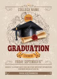 graduation ceremony invitation vector template of announcement or invitation to graduation