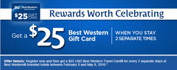 gift card for travel best western rewards 25 gift card promotion february 8 may 8