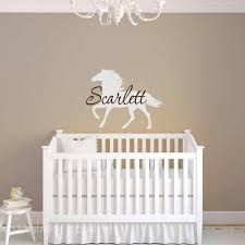 Horse Themed Home Decor Personalized Girls Name Horse Wall Decal Horse Theme Nursery