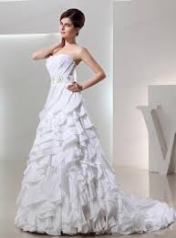 ball gown sweetheart ruffled layers wedding dress in white