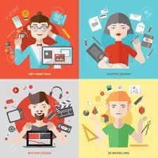berufe mit design flache design kreativen menschen berufe design richtung