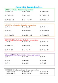 factorising double brackets differentiated by asim 7 teaching