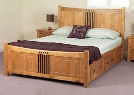Bedroom Sets Natural Wood Furniture Natural Wooden Platform Bed With Storage Drawer And
