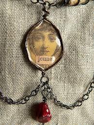 art glass necklace pendant images Decoart mixed media blog project media liquid glass altered JPG