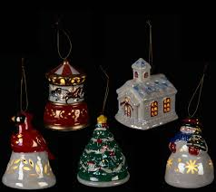 mr christmas s 5 porcelain illuminated ornaments with gift bags