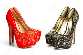 fashionable high heels shoes in red and black both with inner