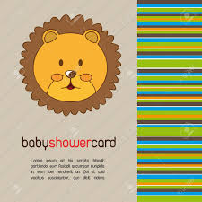 lion baby shower baby shower card with cute face lion vector illustration royalty