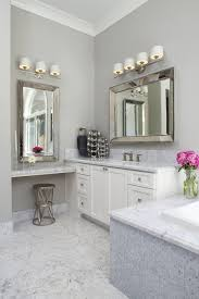 magnifying mirror with light powder room contemporary with
