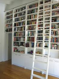 Bookcase With Doors White Bookshelf With Ladder Furniture White Wooden Library