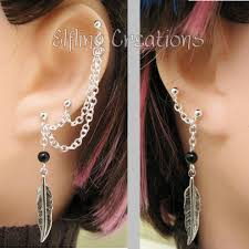 connecting earrings silver and black feather connecting cartilage chain earrings by