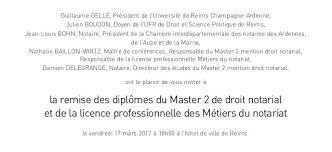 chambre des notaires reims invitation à la remise des diplômes du master 2 de droit notarial et