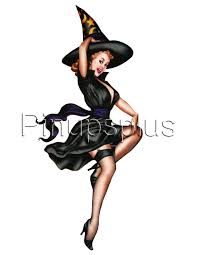 50s vintage witch pinup waterslide decal stickers