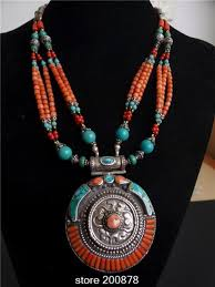 round turquoise necklace images Tnl569 master design nepal indian brass inlaid turquoise coral jpg