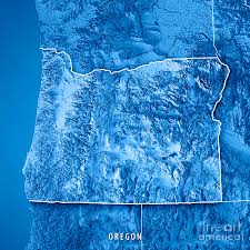 oregon state usa 3d render topographic map blue border digital