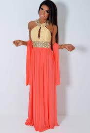 vip donna luxe super embellished peach u0026 cream jewel maxi dress