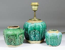 a chinese green glazed pottery hexagonal
