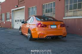 modified bmw m3 f80 bmw m3 comes with fire orange wrap and standout velos wheels