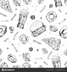 vector sketch fast food seamless pattern monochrome junk food
