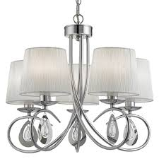 Chrome Pendant Light Fittings by Angelique Chrome 5 Light Ceiling Fitting With Ruffled Shades