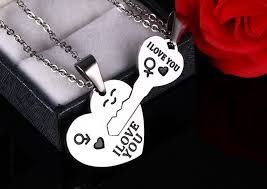 puzzle love necklace images Wholesale 316l stainless steel silver heart and key puzzle jpg