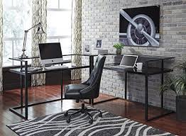 Office Ls Desk Horsens Contemporary Wood Black Home Office Adjustable