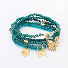 beaded butterfly bracelet images Fashion women jewelry butterfly fatima palm eye peace sign beads jpg