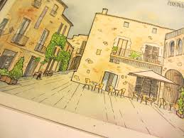 urban sketching watercolour tutorial peratallada spain clare