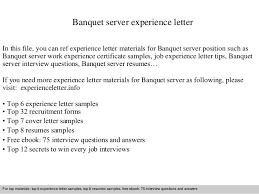 Sample Resume For Server Position by Banquet Server Resume Examples